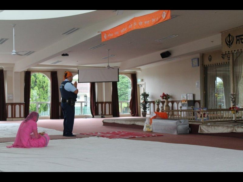 Full constable gurpreet arora at the manuwera sikh temple  auckland