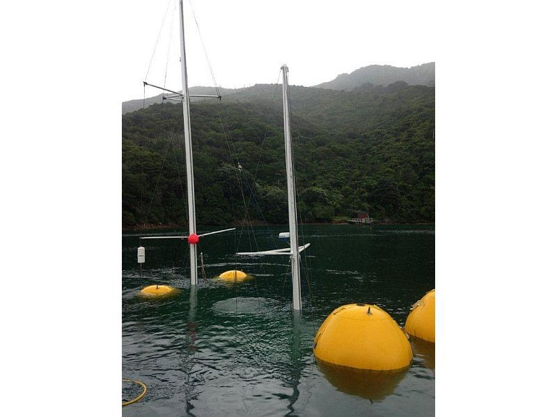 Full air bags float sunken yaught in marlborough sounds photo courtesy underwater solutions ltd