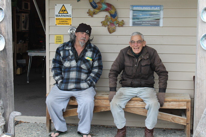 Full ian robertson and selwyn barry on the porch of the wharehapuku art gallery
