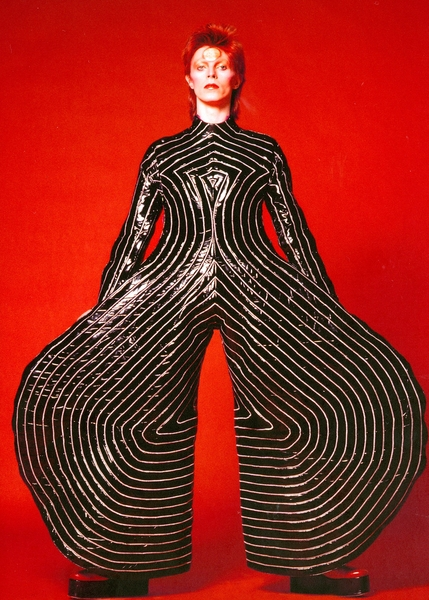 Full 1. striped bodysuit for aladdin sane tour 1973 design by kansai yamamoto photograph by masayoshi sukita