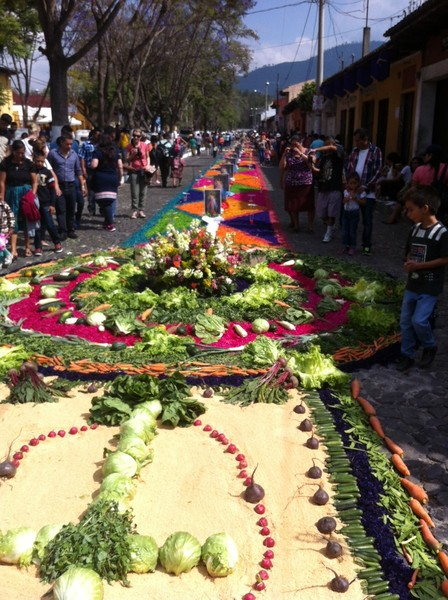 Full semana santa   carpeted street in antigua