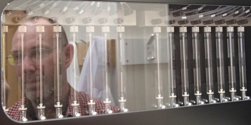 Full aaron jeffs reflected in the illumina genome sequencing machine  which uses about  30 000  worth of chemicals for a single run photo alison ballance