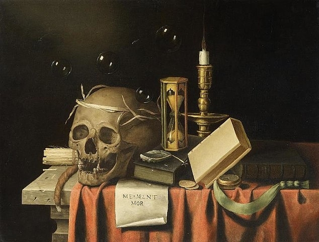 Full memento mori by frans van everbroeck  created between 1654 and 1672 %28public domain%29