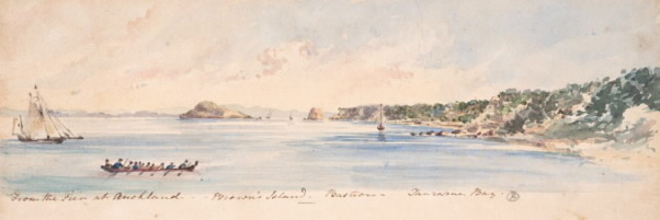 Full caroline abraham  from the pier at auckland %e2%80%93brown%e2%80%99s island %e2%80%93 bastion %e2%80%93 tararua bay  mid 19th century  watercolour