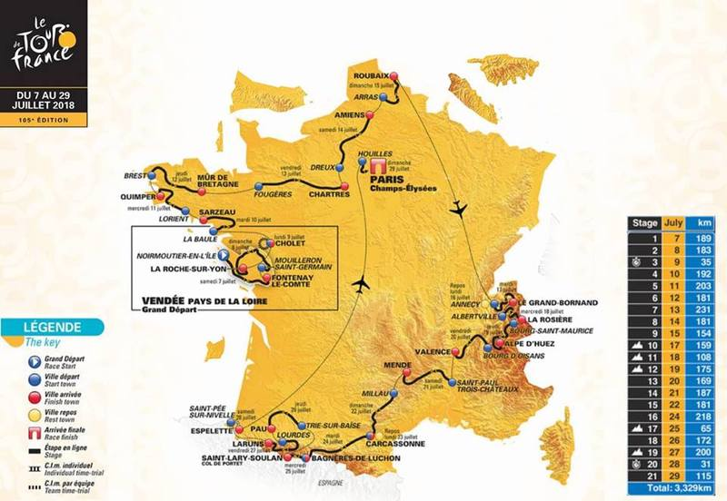 Cycling the tour de france for mental health awareness rnz a map of this years tour de france route gumiabroncs Image collections