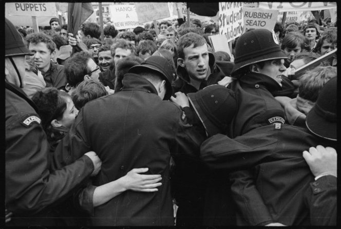 Full police struggling to contain student protestors at the opening of parliament  june 1968
