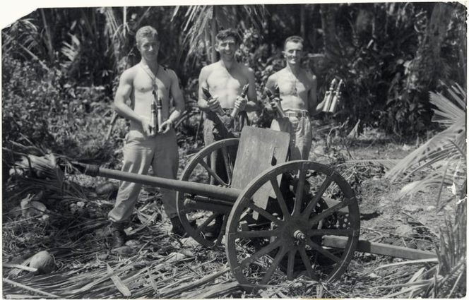 Full new zealand soldiers lepine  gower and finlayson with japanese mountain gun   treasury islands  alexander turnbull library