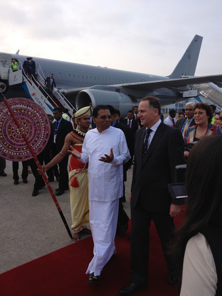 Full john key and nz delegation arriving in colombo for the 2013 chogm leaders' summit