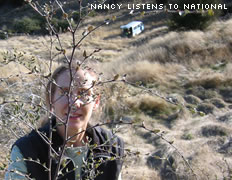 Nancy listens to National