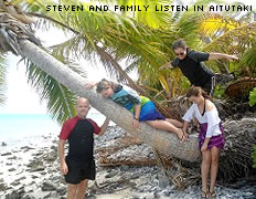 Steven and family listen in Aitutaki