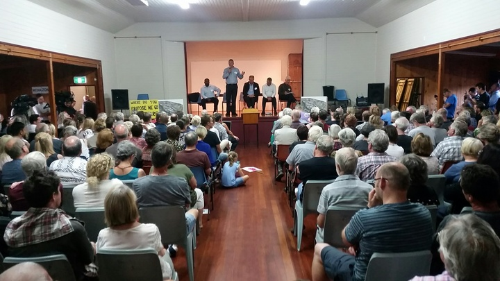 Oratia residents at a meeting on Watercare's proposal to build a huge water treatment plant in their neighbourhood. 21 February.