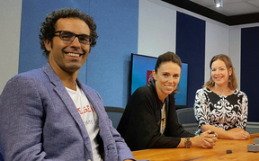 Geoff Simmons, Jacinda Ardern and Julie-Ann Genter in RNZ's Auckland studio for a live debate ahead of 2017's Mount Albert by-election.