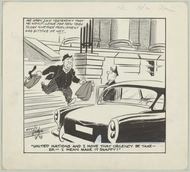 A cartoon from 1958 featuring then Prime Minister Walter Nash.