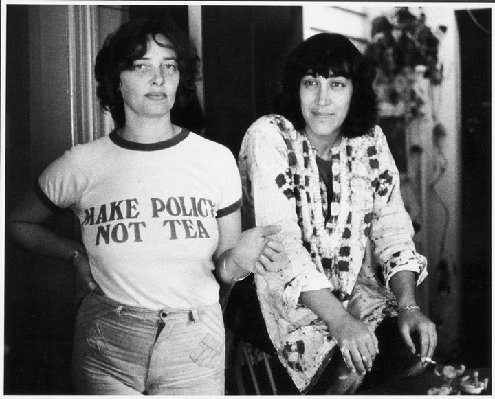 ONE TIME USE ONLY - for Joelle story on second-wave feminists, publication March 2017. In the photo are Bronwyn Gray, left, and her partner, Lesley Boyles.