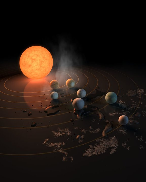 Artist's impression of the TRAPPIST-1 star, an ultra-cool dwarf, which has seven Earth-size planets orbiting it.