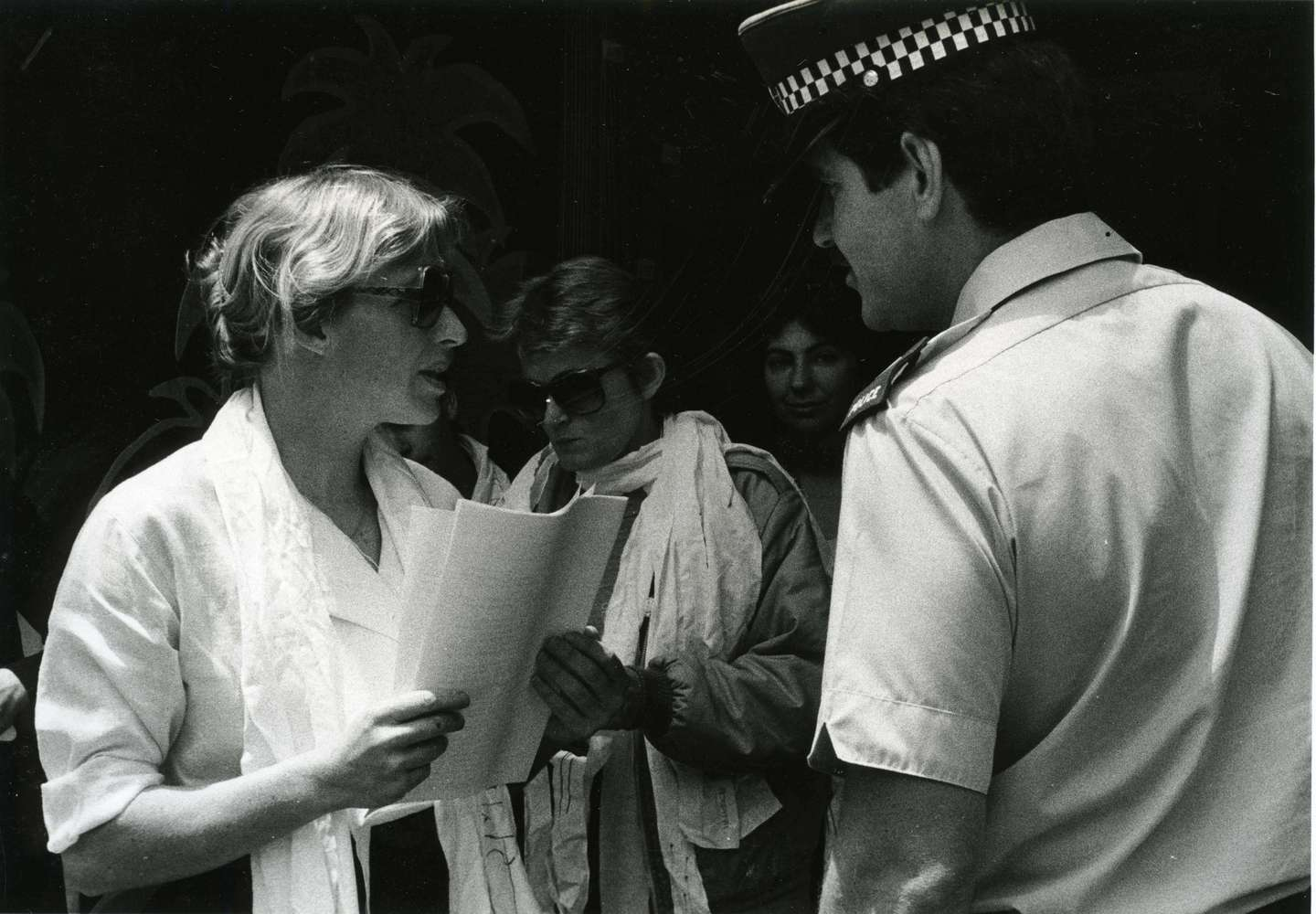 Sandra Coney at a 1983 rape trial picket. Protesters said Auckland lawyer Honoria Grey used rape myths to defend a rapist.