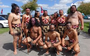 Members of Ngā Pou o Roto after coming off stage.
