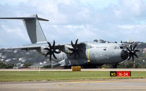 The Royal Air Force A400M landed in New Zealand yesterday.