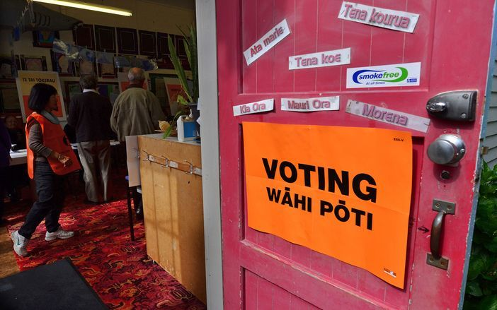 sign saying 'voting wahi poti'
