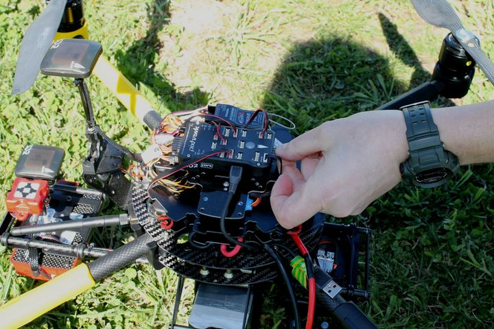 Close up of quadcopter and camera