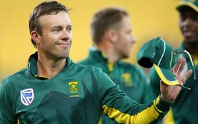 South Africa captain AB de Villiers waves to fans during the 3rd ODI.