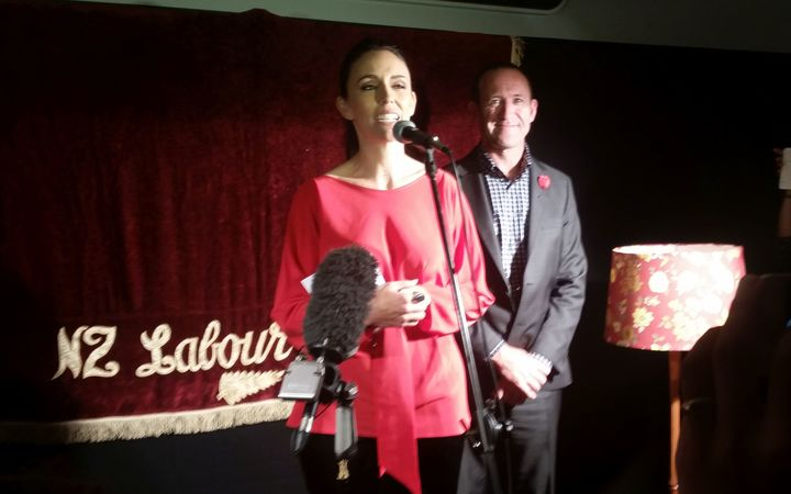 Jacinda Ardern speaking after she won the Mt Albert by-election with Labour Party leader Andrew Little.