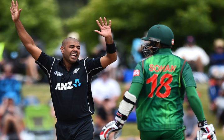 Jeetan Patel celebrates a wicket during the 3rd ODI against Bangladesh.