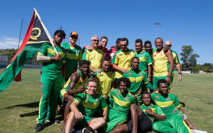 Vanuatu celebrate winning the East Asia Pacific World Cricket League Qualifier.