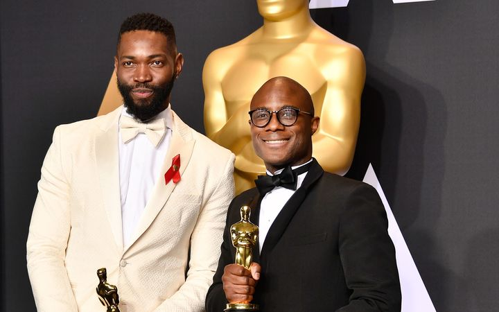 Screenwriter Tarell Alvin McCraney, left, and writer/director Barry Jenkins were the winners of Best Adapted Screenplay for 'Moonlight'.