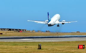 An Air NZ plane takes off from Wellington Airport.