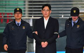 Lee Jae-yong, vice president of Samsung Electronics Co. and Samsung Group's heir apparent, arrives at the office of the special prosecutor's team in southern Seoul, South Korea, 25 February 2017.