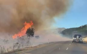 A large scrub fire near Hanmer Springs has closed the main route between Picton and Christchurch.