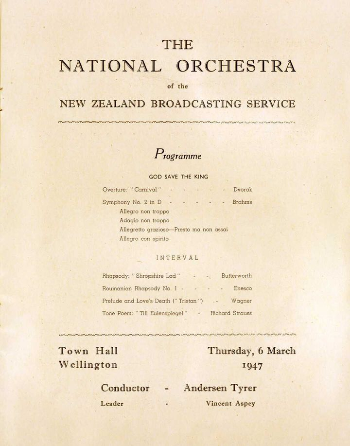 Souvenir programme from the first ever public concert given by the National Orchestra on 6 March 1947.