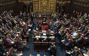 House of Lords chamber in session at the Houses of Parliament in London. Approved by the House of Commons, the bill on the triggering of Brexit passes before the Lords on Monday.