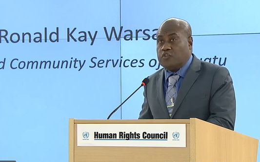 Vanuatu's Justice Mnister Ronald Warsal addresses the 34th regular session of the UN Human Rights Council regarding the human rights situation in West Papua.