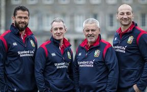 Rob Howley, Andy Farrell, Warren Gatland and Steve Borthwick are the Lions coaching staff.