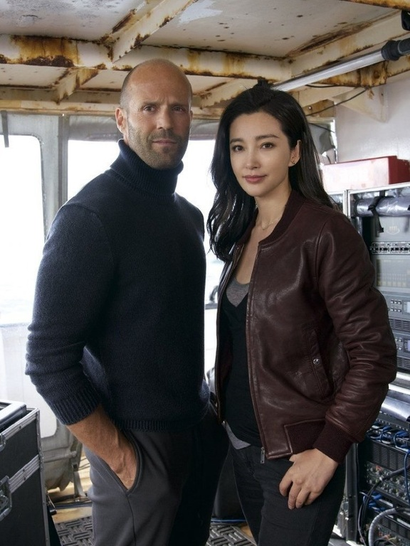"British actor Jason Statham and China's Li Bingbing in the movie ""Meg"" which was the first to be filmed at the Kumeu facility."