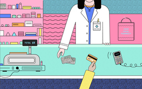 Illustration showing woman buying the contraceptive pill at a pharmacy.