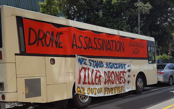 The blood-spilling protest was held to raise awareness of drone strikes.