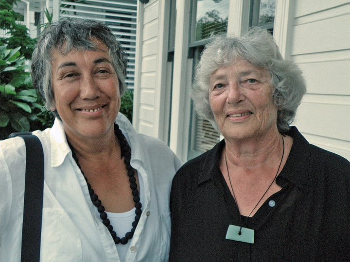 Lesley Boyles and Bronwyn Gray. Marti Friedlander took their photo in 1979 when Bronwyn wore a t-shirt that read, Make policy not tea.