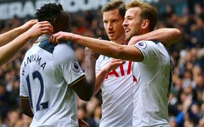White Hart Lane, Premier League football, Tottenham Hotspur versus Stoke City; Harry Kane of Tottenham celebrates with Victor Wanyama and Jan Vertonghen. February 26th 2017.