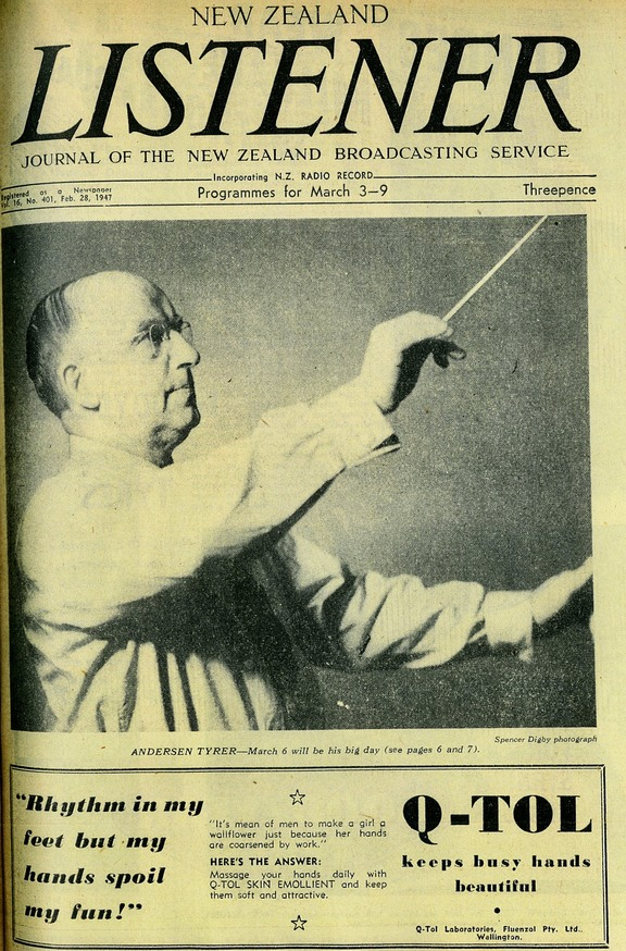 Conductor Andersen Tyrer in 'New Zealand Listener', 1947