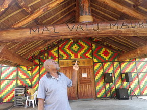 CEO Jean Pierre Tom in from of building housing Vanuatu's Malvatumauri