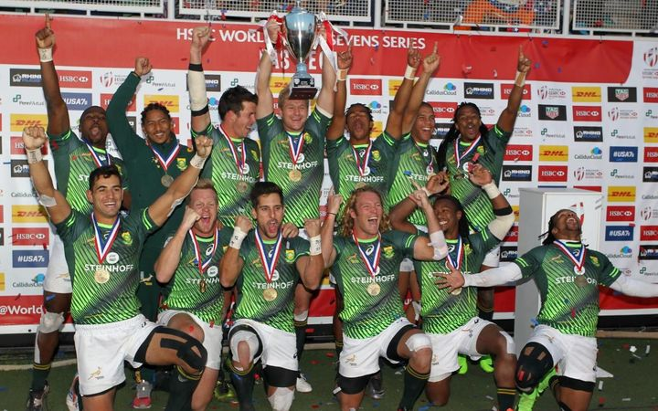 The Blitz Bokke celebrate winning the Vegas Sevens
