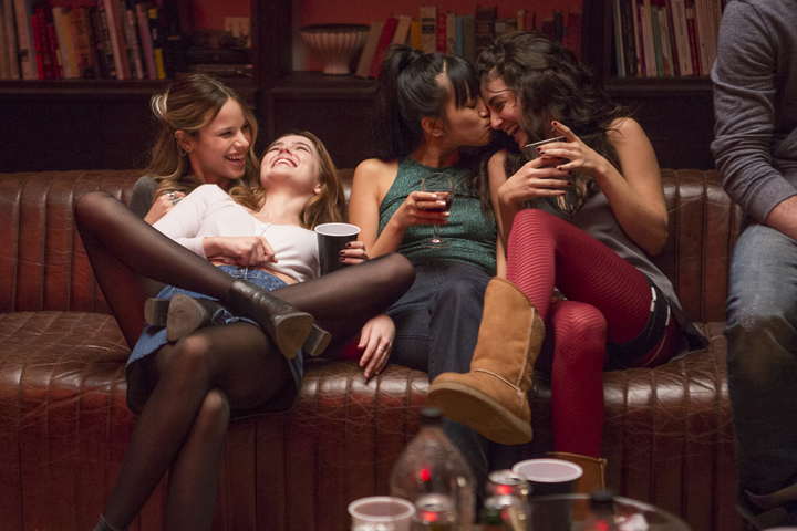 (Left to right) Halson Sage, Zoey Deutsch, Cynthy Wu and Medalion Rahimi party on in Before I Fall.