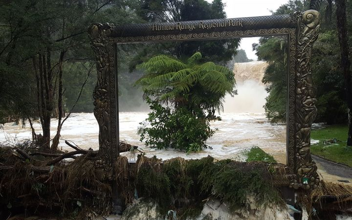 Flooding at Hunua Range Regional Park today, in a photo taken by an Auckland Council regional park ranger.