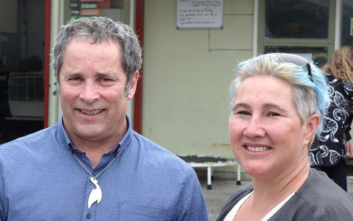 Berhampore School principal Mark Potter and parent Alana Spragg.