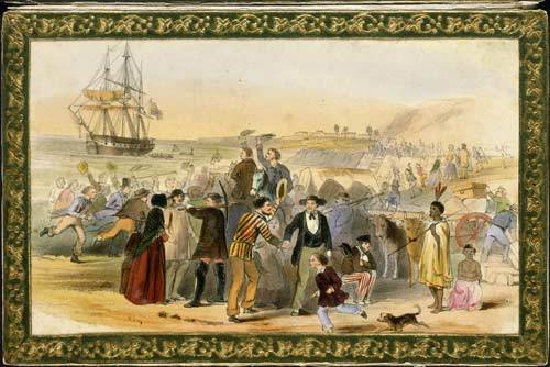 Lithograph by E. Noyce of NZ Settlers preparing to return to Britain