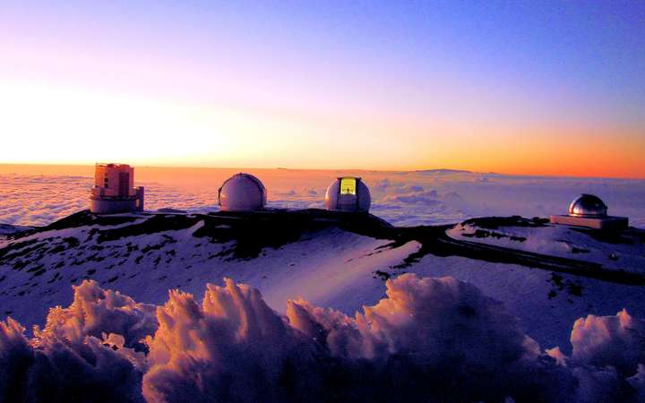 The observatories at the top of Hawaii's Mauna Kea mountain.