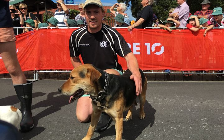 Man and Mutt race winner Tom Nichol and his dog Beau.